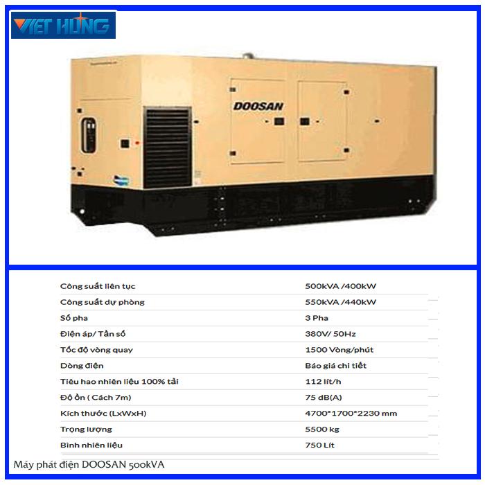 Máy phát điện Doosan 500kva chính hãng